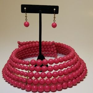 Jewelry - Pink choker with matching earrings
